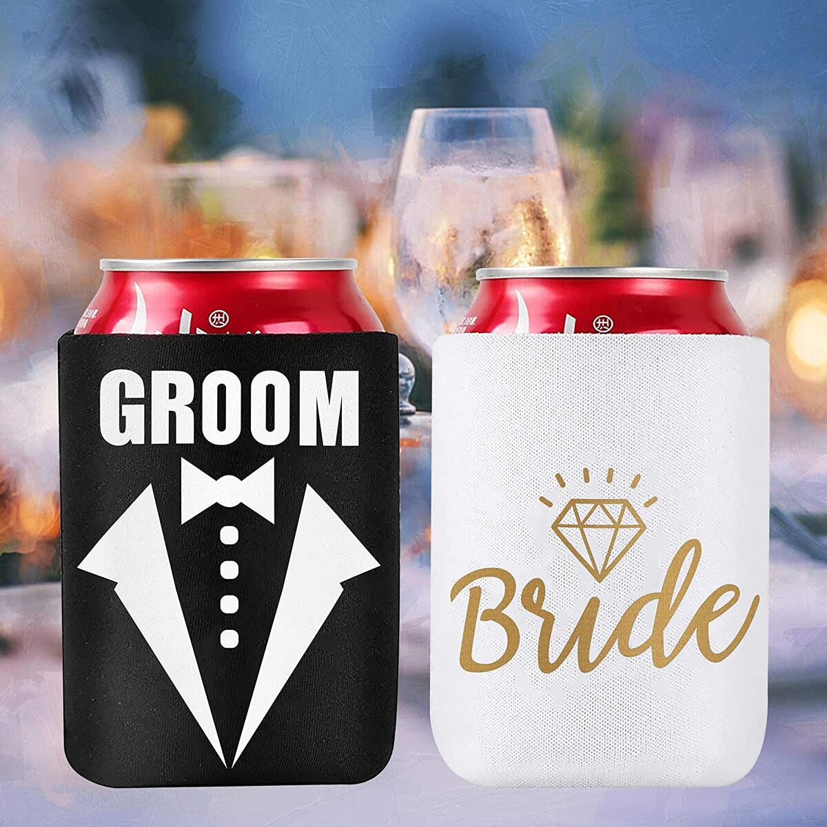 Wedding Gifts, Can Cooler Sleeve Hand-sewed 2-PCS Premium Quality, Bridal Shower Gift Bachelorette Engagement Party, Beer Coolie Insulators for Beers & Soda