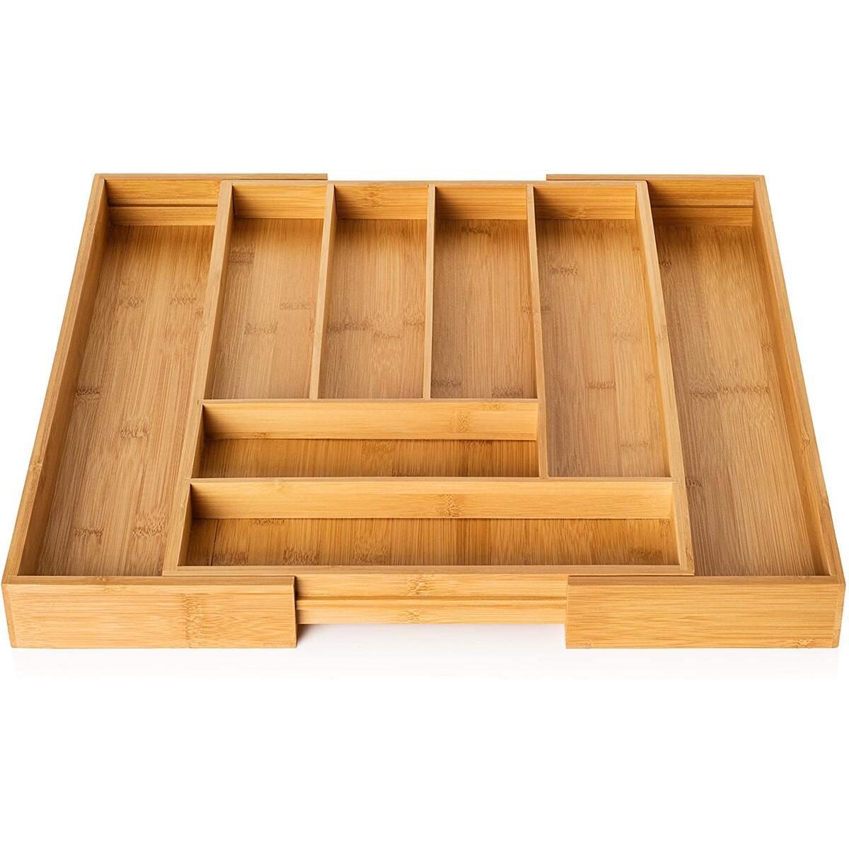 Bamboo Silverware Drawer Organizer - Expandable 100% Bamboo Cutlery Kitchen Drawer Organizer – Premium Wooden Utensil/Cutlery Tray for Kitchen Flatware Set– Eco-Friendly Silverware Organizer