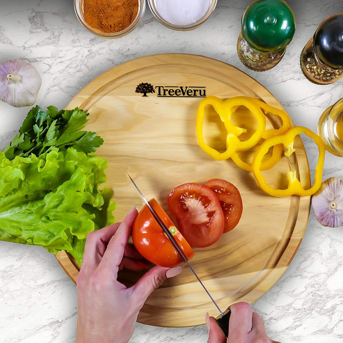 "TreeVeru Wood Round Cutting Board - Small Circular Cutting Board with Juice Drip Groove 11.8"", Natural Durable Ash Chopping Circle Serving Board"