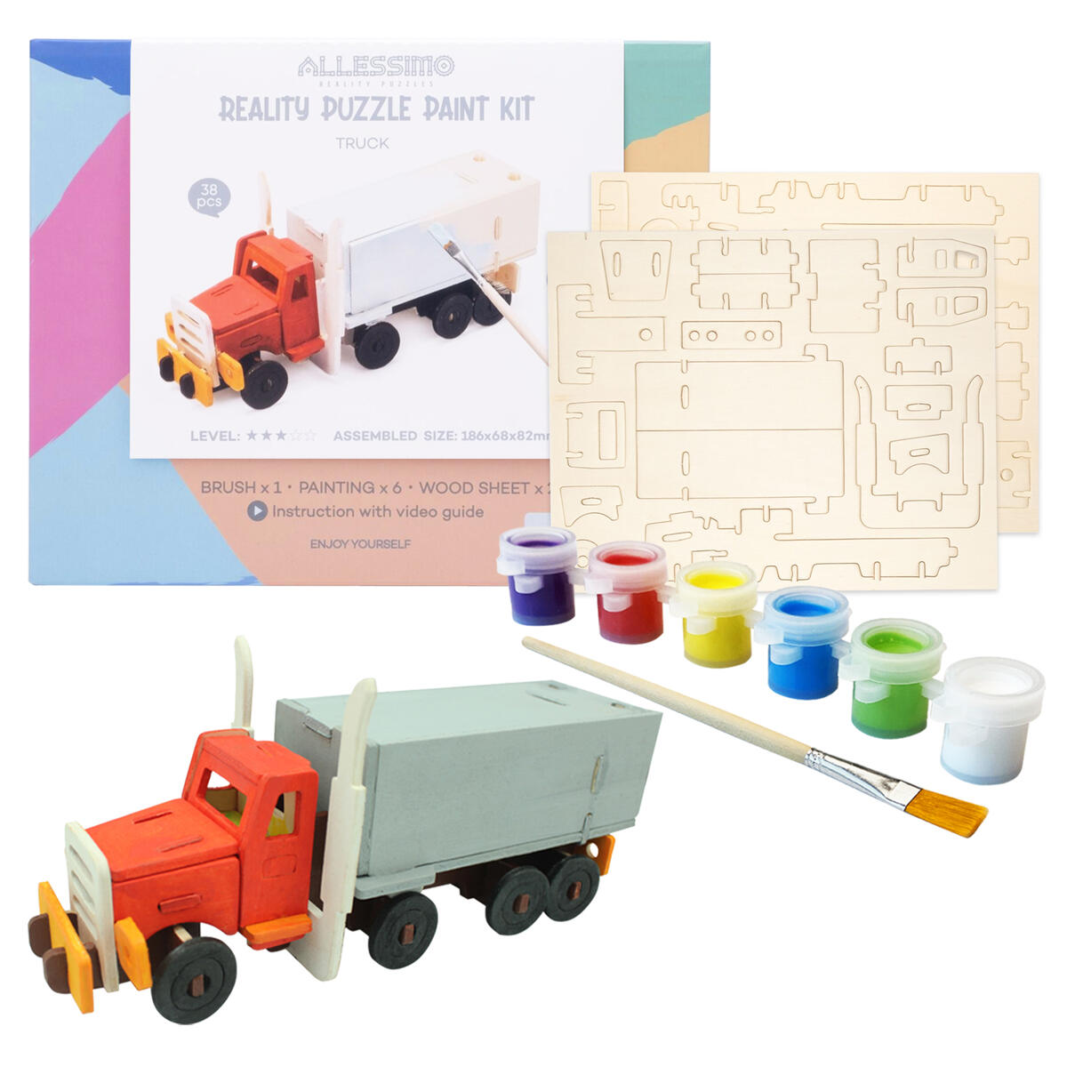 Allessimo 3D Paint Puzzle Reality Wooden (Truck - 38pcs) Model Paint Kit with Brush Toys for Kids Puzzle Build 3D Puzzles Educational Fun Crafts Building DIY