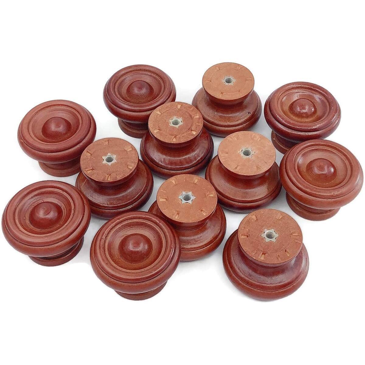 Cabinet Knobs, Wooden Drawer knob, Drawer Pull, Drawer knob, and Dresser Hardware, for Dresser Drawer Wardrobe, Mushroom Brown Color (12)