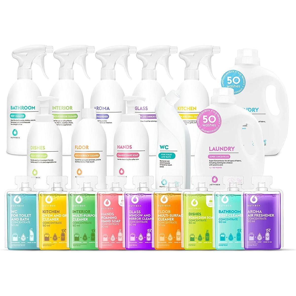 DutyBox Starter Pack - Household Cleaning Supplies, All Purpose Set of Everyday Cleaners, Multi-Surface Cleaner for Bathroom, Kitchen, Dining Room and Laundry (11 Products, 6 Month Family Supply)