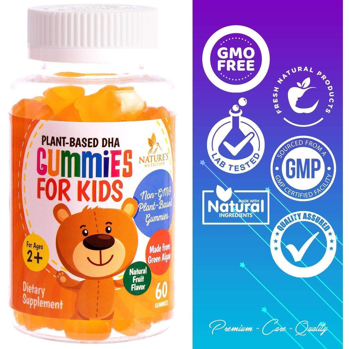 DHA Gummies for Kids - Children's Omega 3 DHA Gummy Fish Oil Supplement for Brain, Immune, Vision, and Heart Support - Best Vegan Plant Based DHA Vitamin, Lemon Flavor - 60 Gummy Bears
