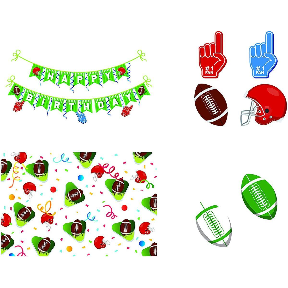 Party Essentials Football Party Decorations Set – 37Pcs Birthday Party Supplies Kit – Includes Banners, Table Covers, Balloons, Hanging Swirls – Ideal for Kids and Adults, College Party, Super Bowl Night