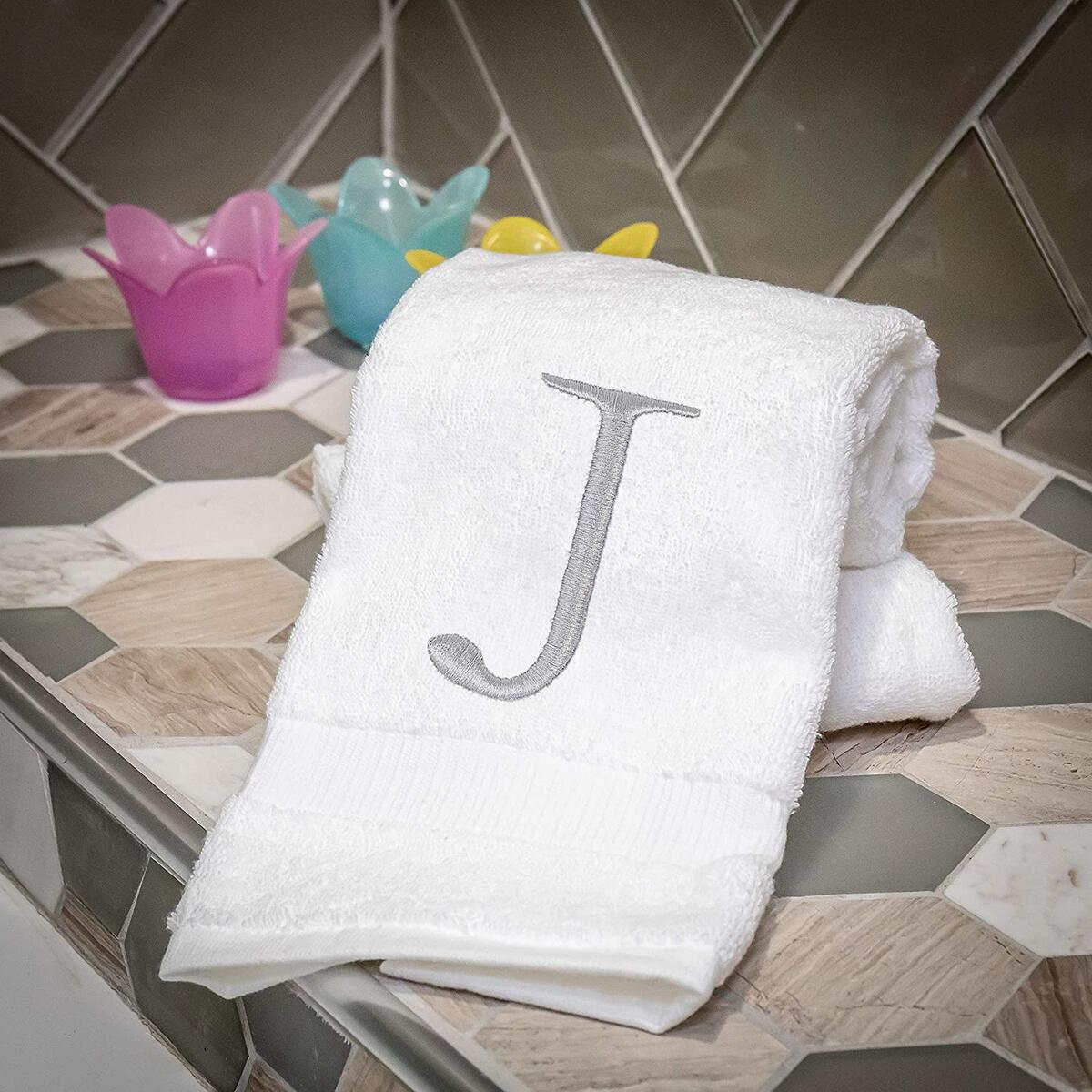 Organic Monogrammed Hand Towel for Bathroom Set of 2 - Letter J