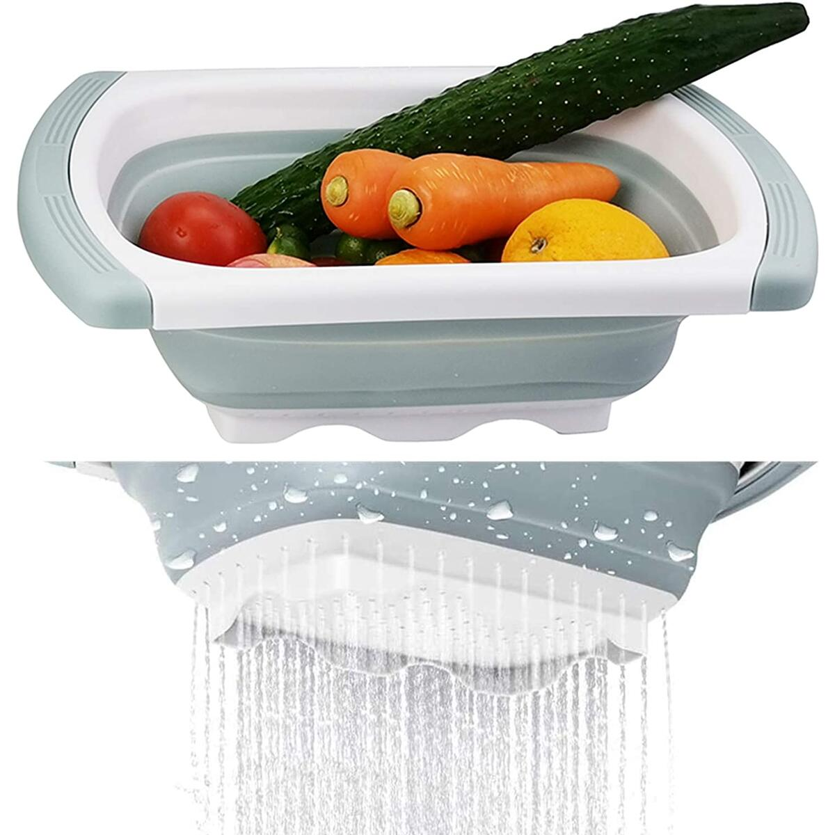 Collapsible Colander, 3-Packs Silicone Kitchen Strainer Set, 1pc 6 Quart Over the Sink Strainer, 1pc 4 Quart and 1pc 2 Quart Round Folding Strainers