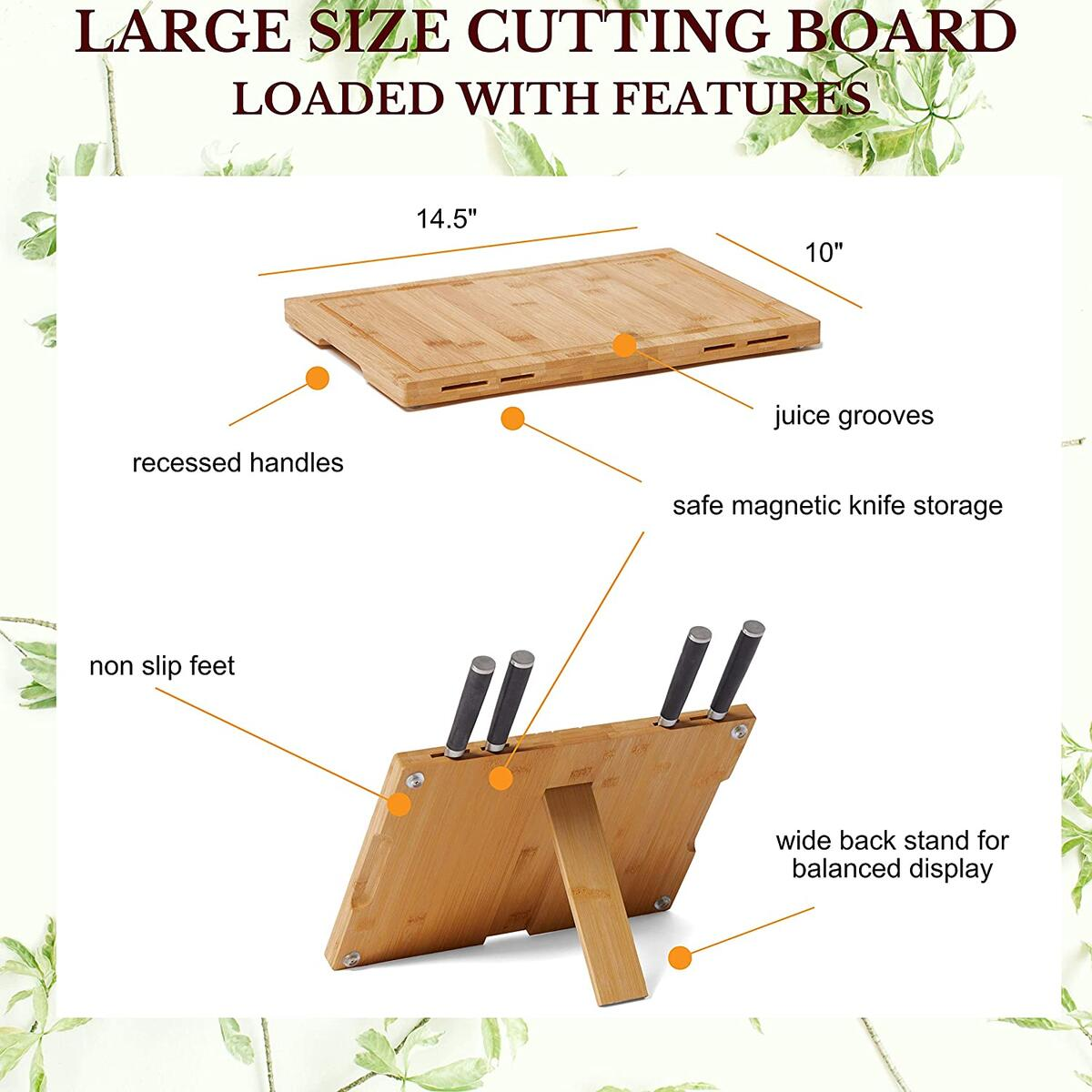 Multifunctional Bamboo Magnetic Knife block + Cutting Board