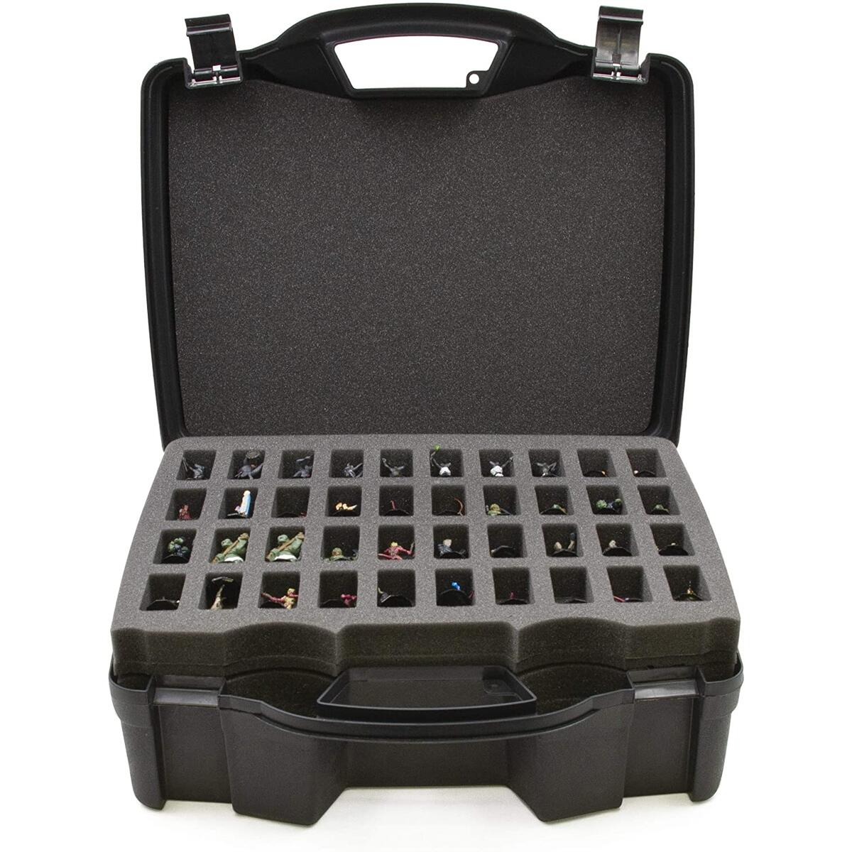 CASEMATIX Hard Shell Miniature Travel Case with Two 40-Slot Pre-Cut Foam Trays and Customizable Foam Layer