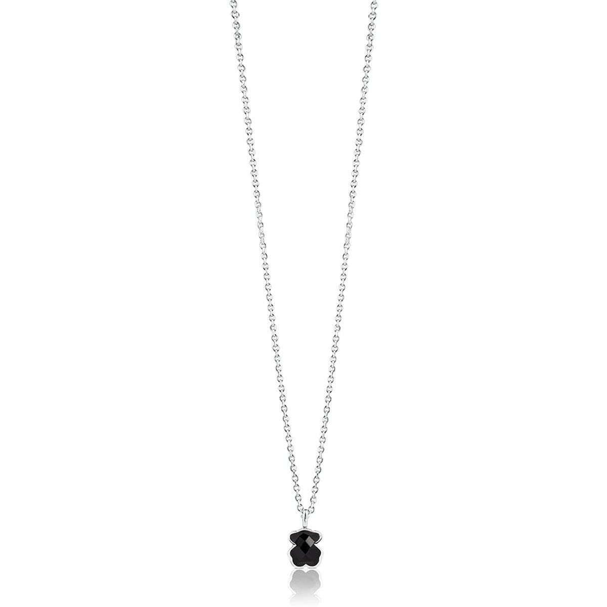 TOUS Jewelry Icon Black and White Sterling Silver with Mini Bear Pendant Necklace