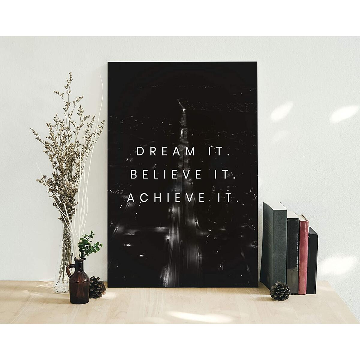Dream It| 12x18in| Motivational Inspirational Wall Art Canvas, Inspirational Wall Art for Office, Motivational art For Office, Artwork Décor Inspiring Entrepreneur Ready to Hang