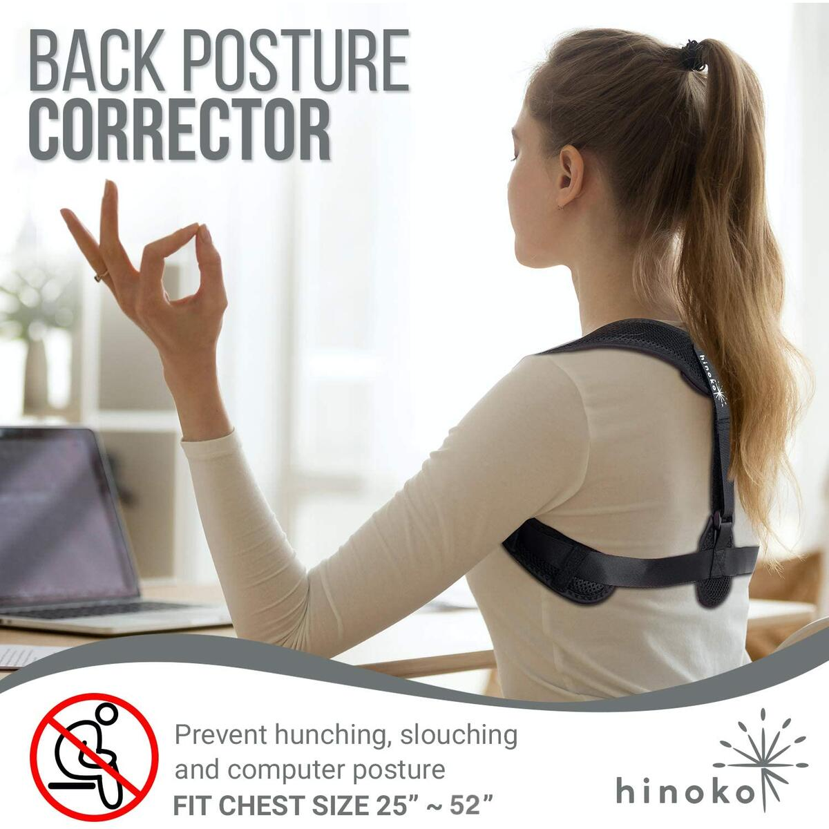 Posture Corrector for Men and Women - with Silicone Toe Separator Spacer - Over Shoulder Back Support Brace - Straightener to Improve Slouching, Neck Pain Relief - Comfortable Over or Under Clothes - Fits 25