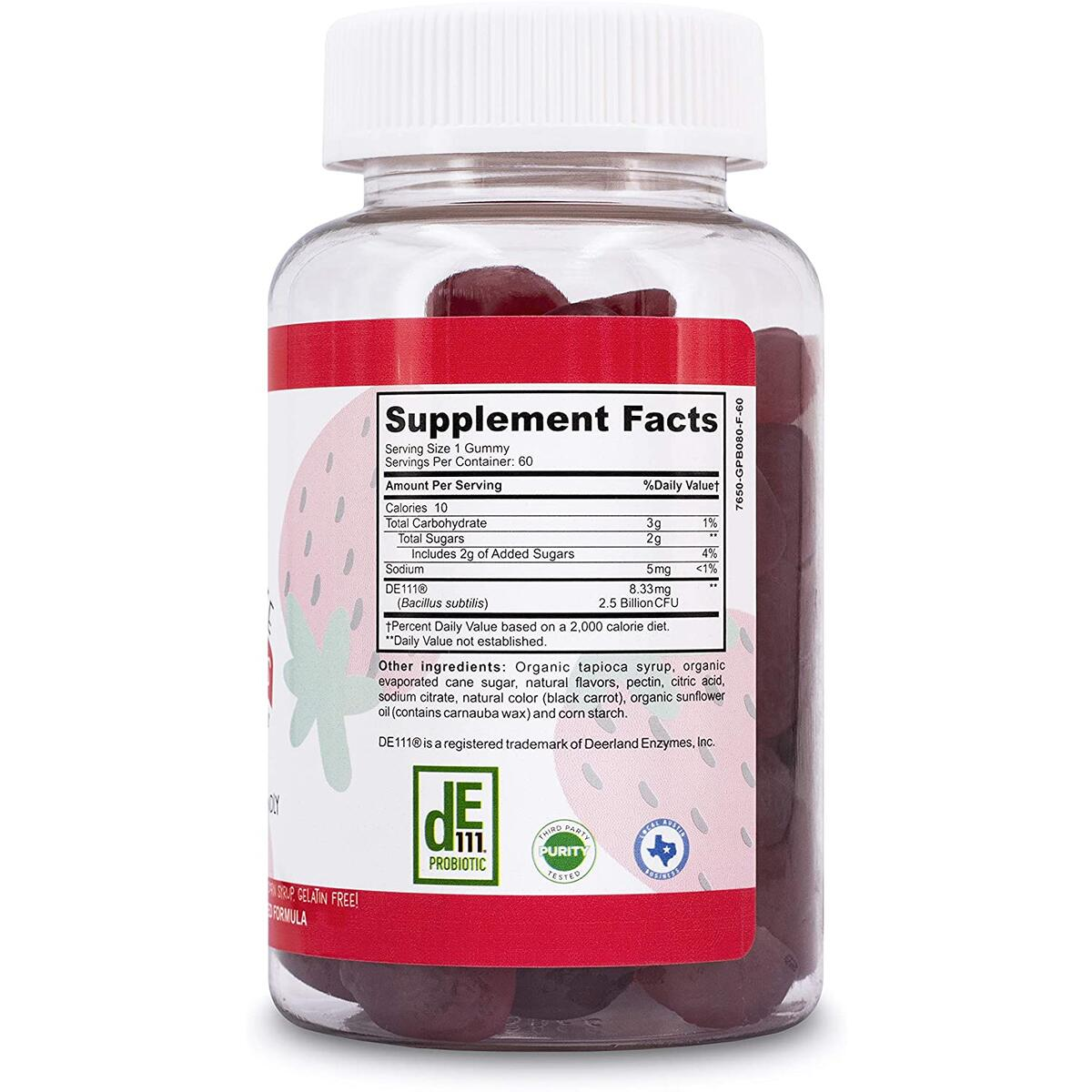 Vegetarian Naturals® Kids Whole Life™ Probiotic Gummies Vitamin for Kids and Adults; Certified Organic, Non- GMO, Supports Gut* Digestion* & Immune Support*; 2.5 Billion CFU, Vegan, 2 Month Supply