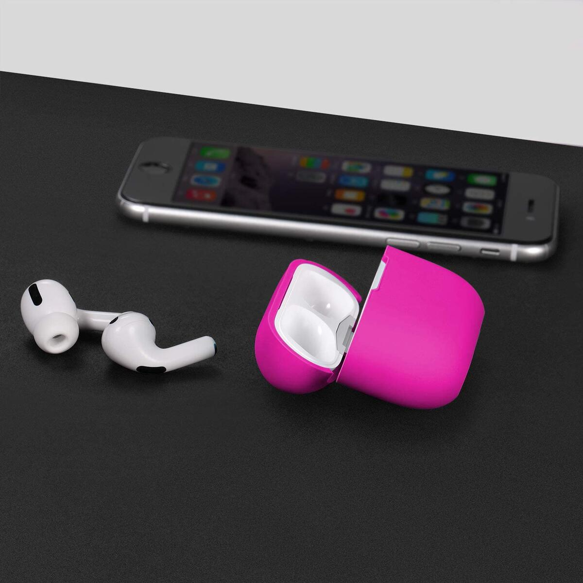 Funtin Red AirPods Pro Case, Front LED Visible Waterproof Scratch-Resistant Silicone Cover Full Protective Skin for AirPods Pro