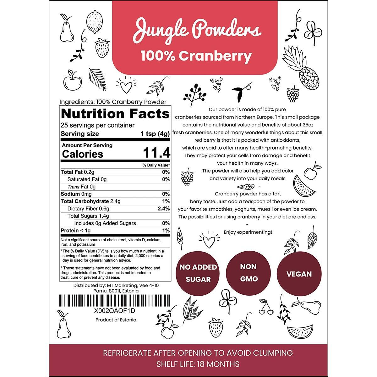 Jungle Powders Cranberry Powder | 3.5oz 100% Natural Non GMO Vegan Friendly Red Freeze Dried Cranberry Extract | Powdered Cranberries No Sugar Added