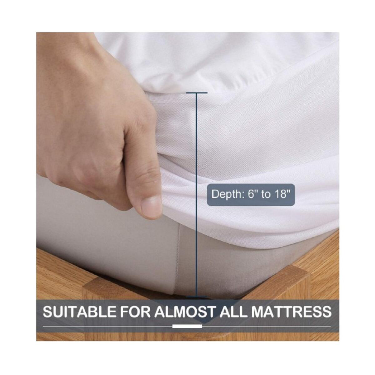 Eggishorn Premium Cooling Bamboo Mattress Protector, 100% Waterproof Breathable Mattress Pad Cover, Against Moisture & Dust,‎ Hypoallergenic, Unique Design for Different Mattress Depth-King Size