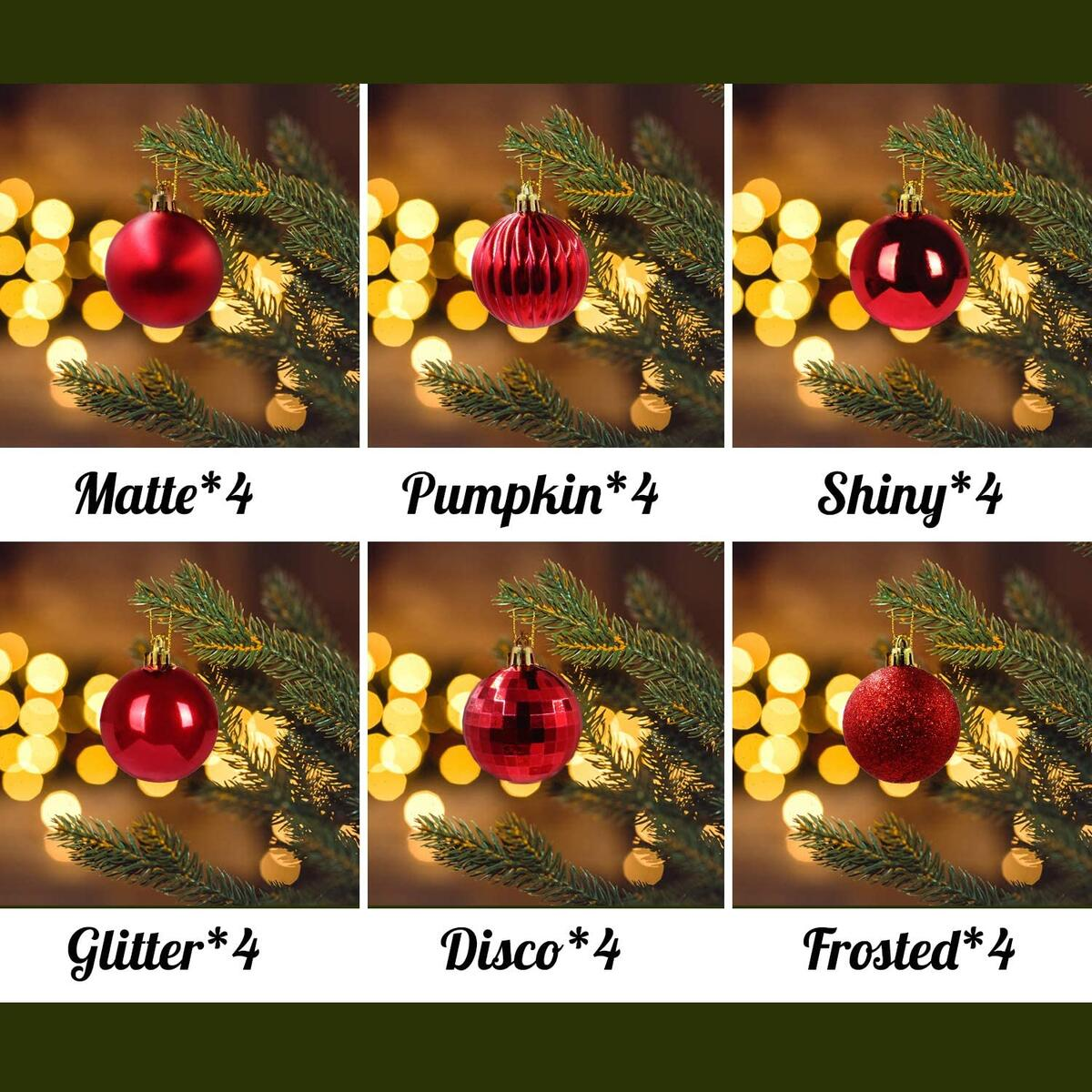 WEYON Christmas Ball Ornaments -24 Pack Shatterproof Christmas Tree Decorations Hanging Balls for Holiday Wedding Party (Red 1.57