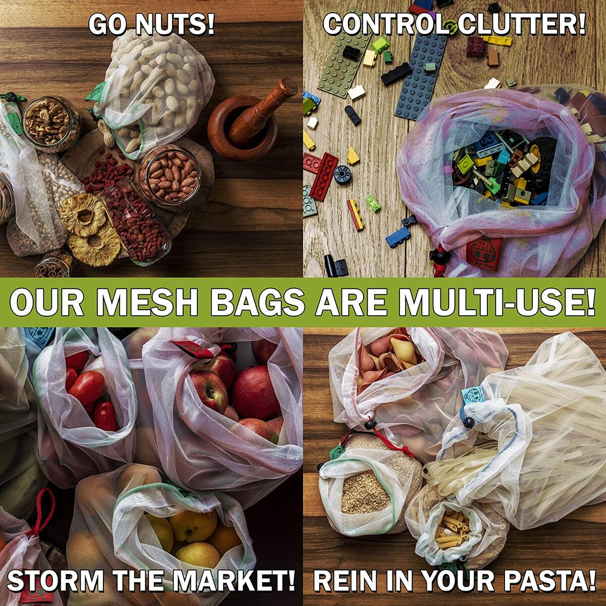 Reusable Grocery Bags Set of 12 PCS | Mesh bags with Tare Weight Tags | Foldable reusable bags and a bonus silicon handle | All the vegetable bags in this kit are made from recycled plastic