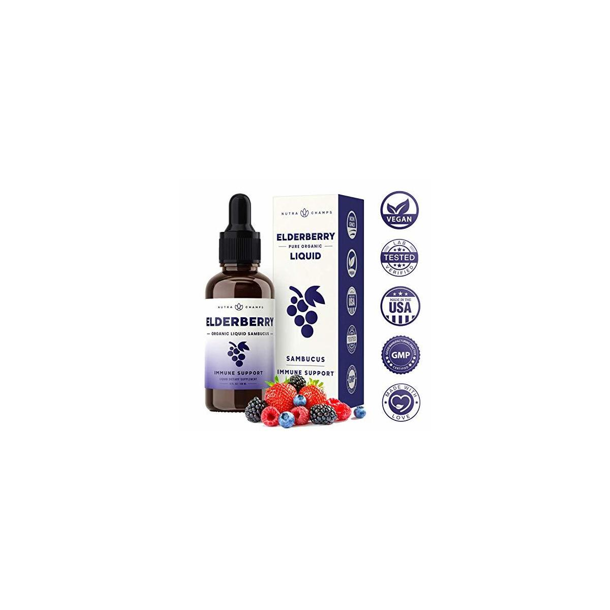 Organic Elderberry Syrup [Double Strength] Liquid Extract for Kids & Adults - Immune Support & Relief from Cold & Allergies - Vegan Sambucus Nigra Antioxidant Drops Supplement - Berry Flavor 2oz