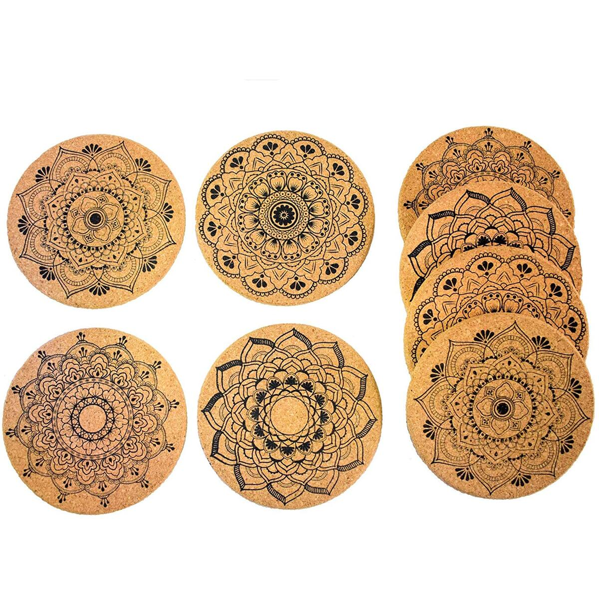 EASY BREEZY 8pc Cork Coasters for Drinks – 4 Different Designs Natural Cork Coaster – 40% Extra Thicker