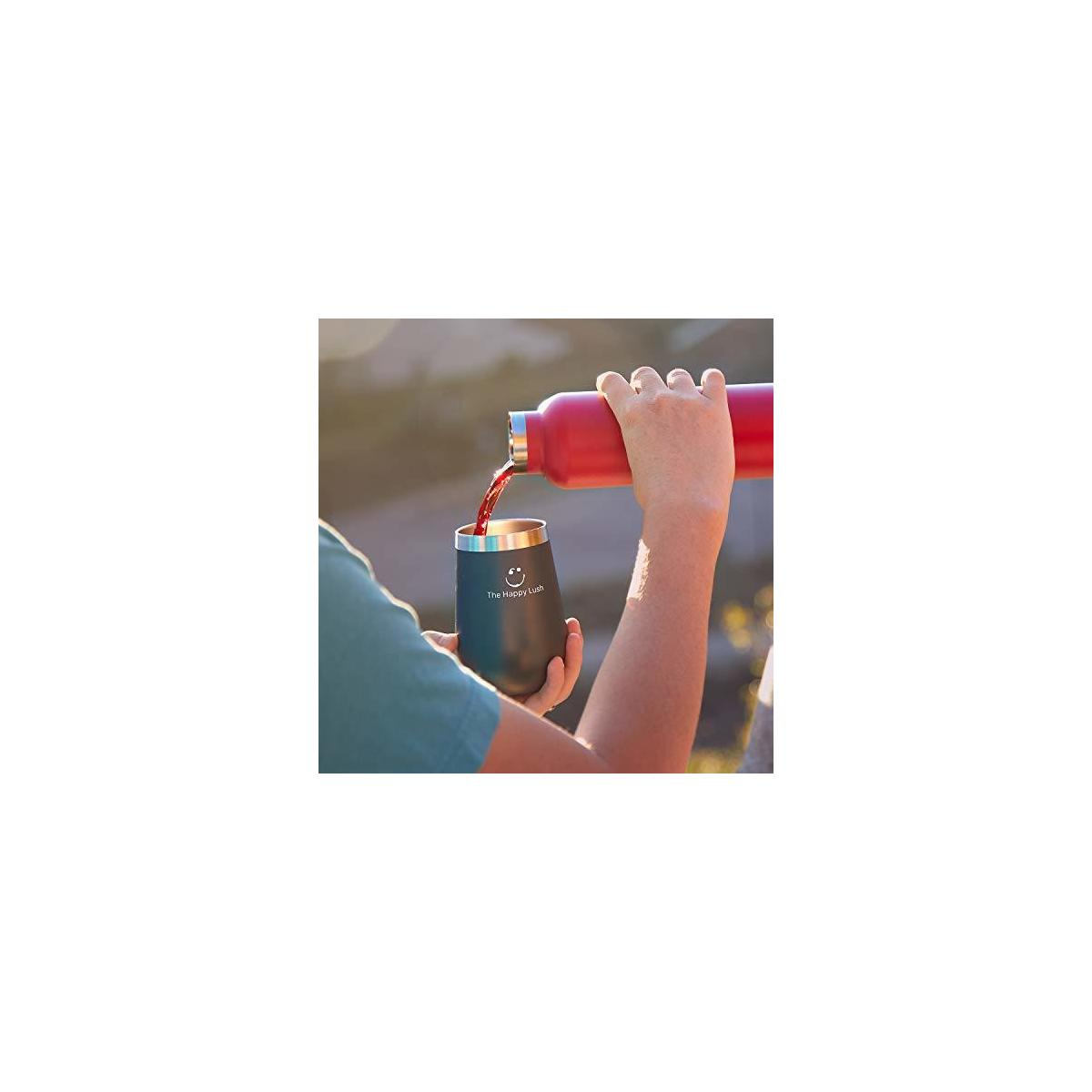 The Happy Lush Stainless Steel Wine Tumbler with Spill-Proof Lid: 12 oz Stemless Wine Glass Tumbler- Rose Gold