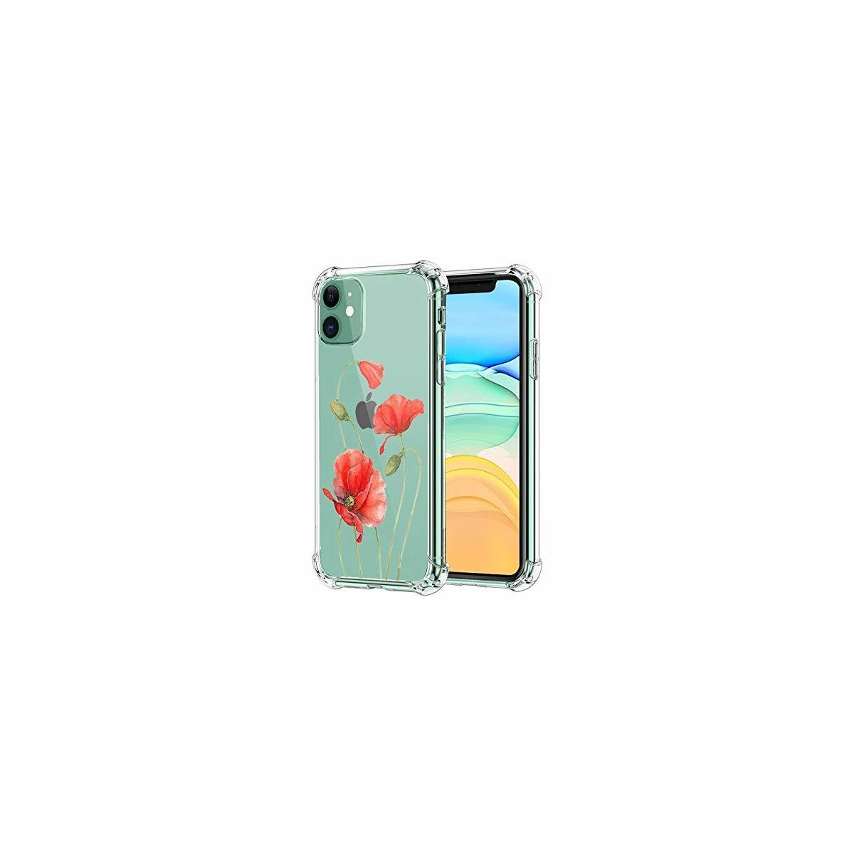iPhone 11 Clear Case Flowers (+) 2 or 1 Free Screen Protectors, Transparent Cover & Protective iPhone 11 Case, Red Tulips