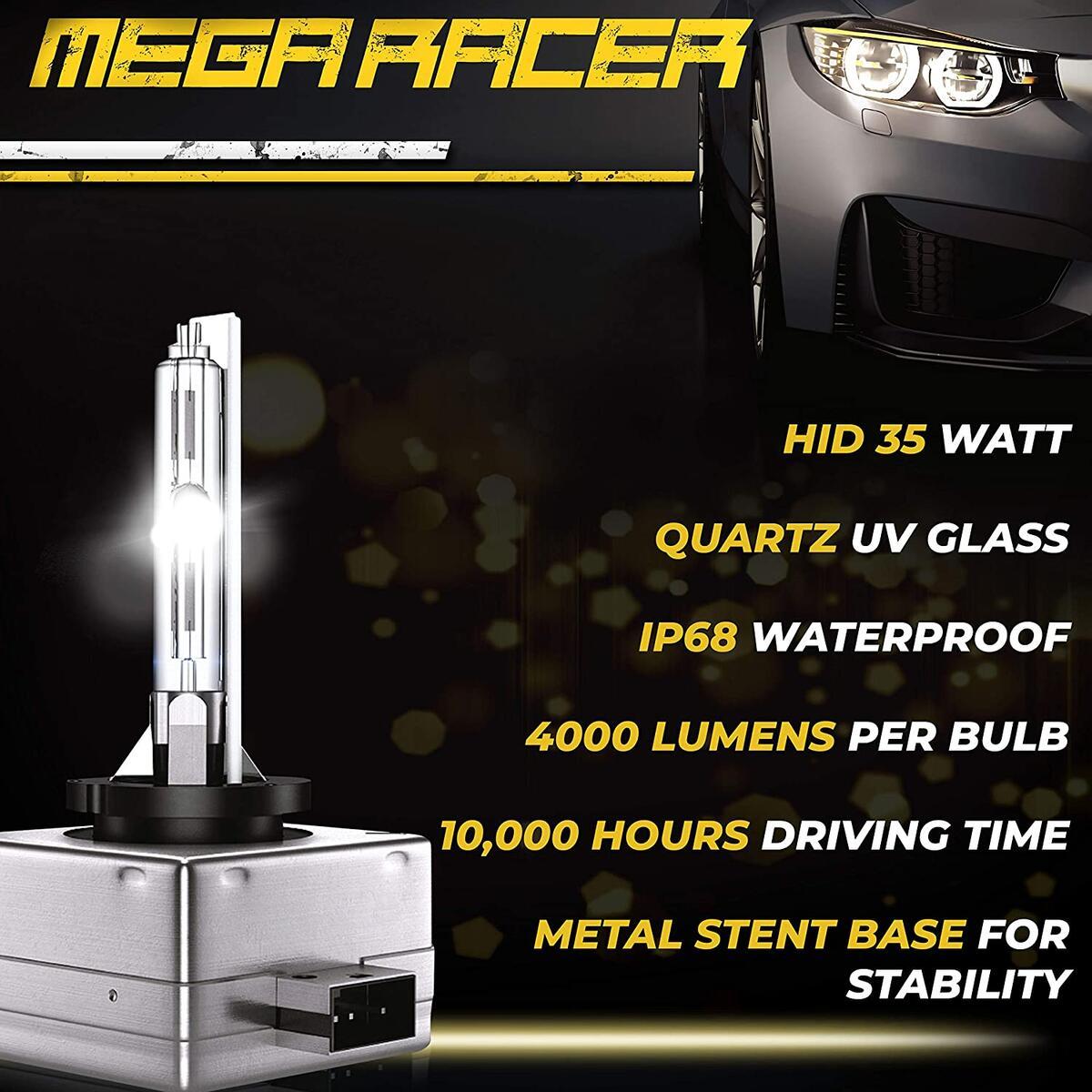 Mega Racer D1C/D1R/D1S HID Headlight Bulb for High Beam Low Beam 35W 6000K Diamond White 8000 Lumens Xenon Headlights IP68 Waterproof, Pack of 2