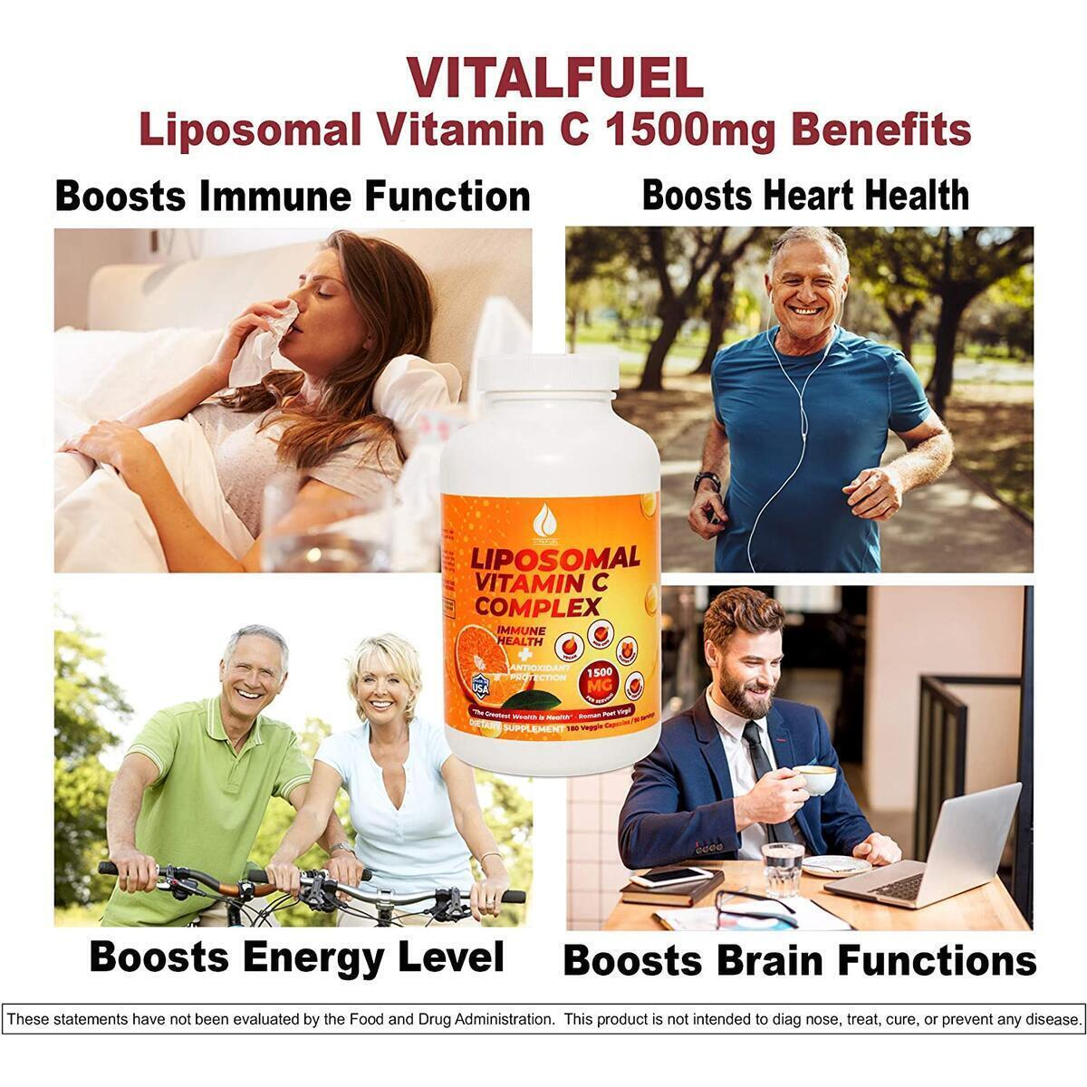 Liposomal Vitamin C 1500mg - Best Pure VIT C Fat Soluble Lypospheric High Absorption Vitamins C Complex, Antioxidant Immune Health, Anti-Aging Collagen Booster, 180 Capsules 90 Servings