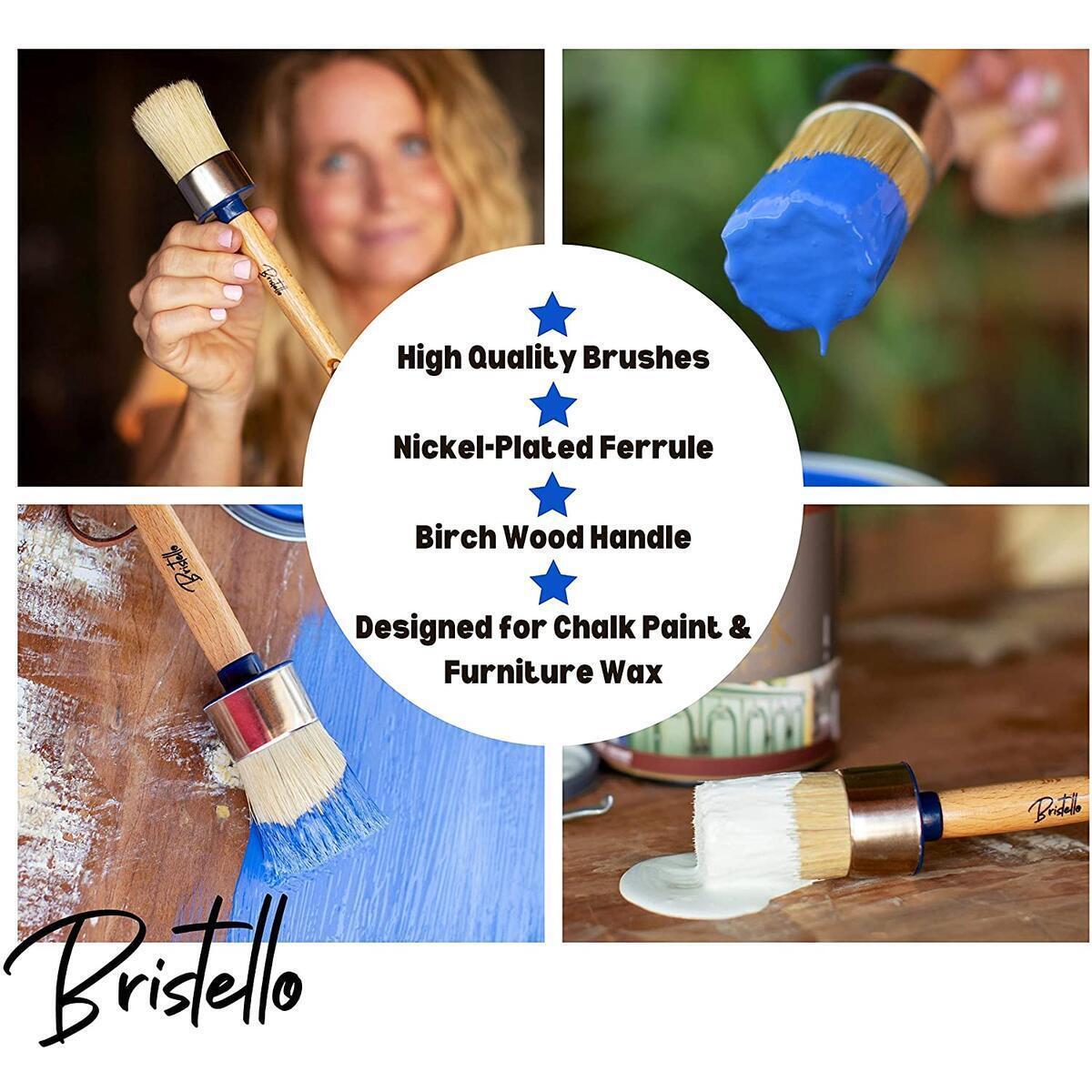 Bristello Wax Brush Chalk Paint Brush. 1x Round Furniture Paint Brush/Chalk Paint Brushes for Furniture Painting. Large 2 Inch Paint Brush - Stencil Brush, Milk Paint and Wax Paintbrush