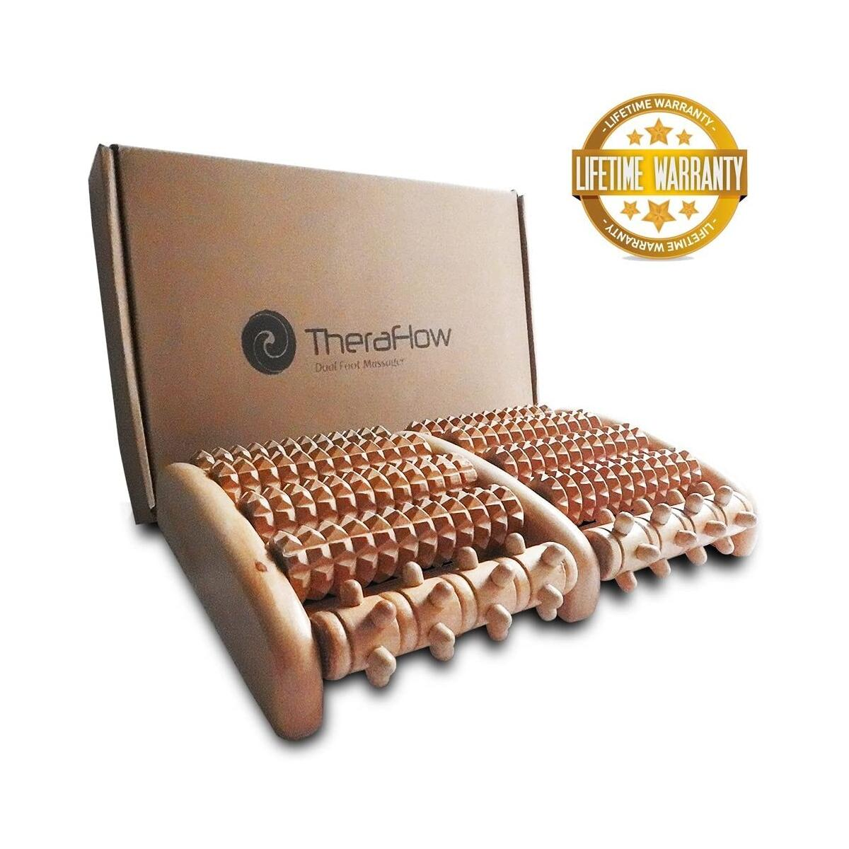 TheraFlow Large Dual Foot Massager. 2020 Updated Version. Relaxation, Foot Pain, Plantar Fasciitis & Stress Relief. Includes Full Laminated Chart & Instructions. New Rubber Grips. Gift Package