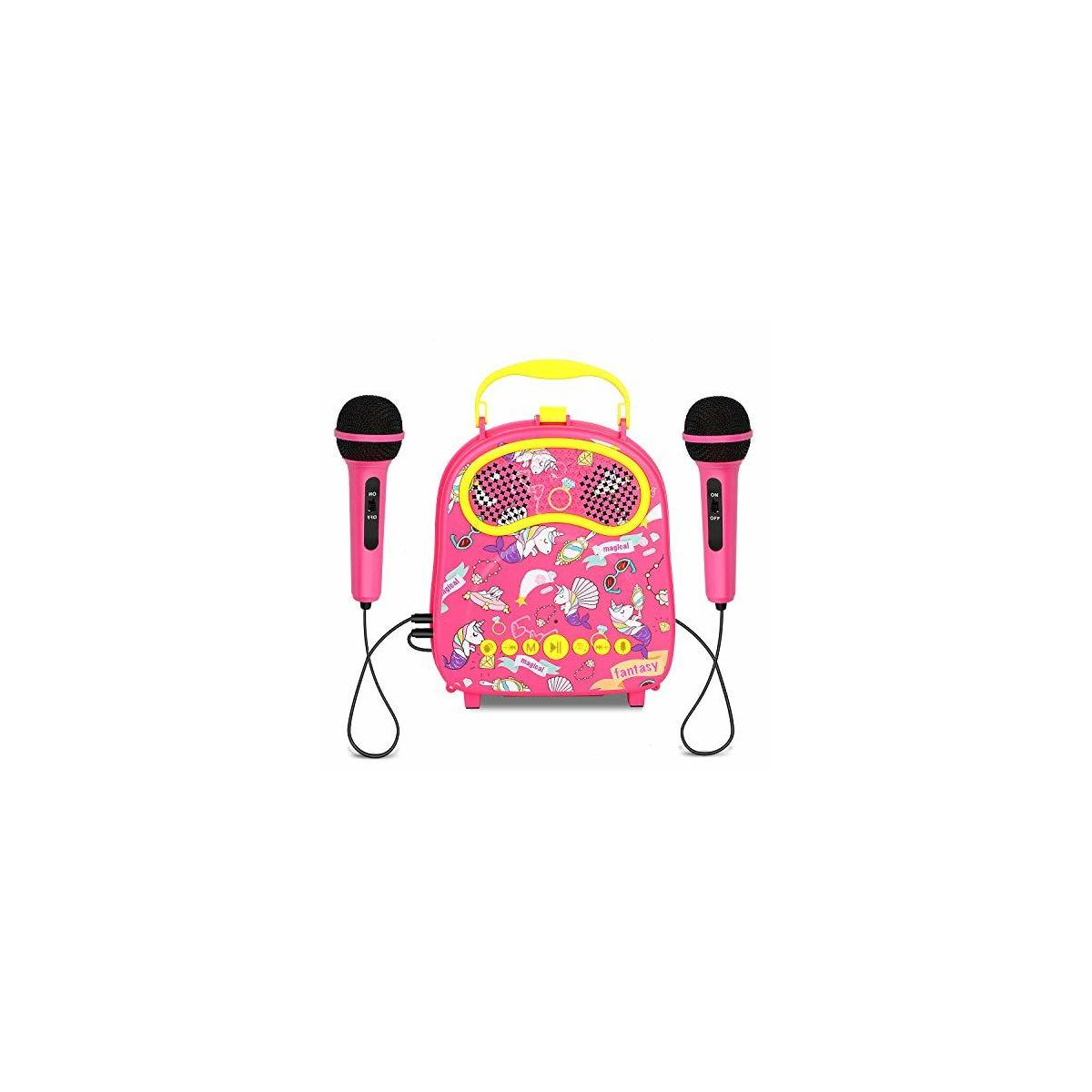Kids Karaoke Machine 2 Microphones Wireless Karaoke Microphone Portable Carry Bag Includes Voice Changer, Applause and Accompaniment