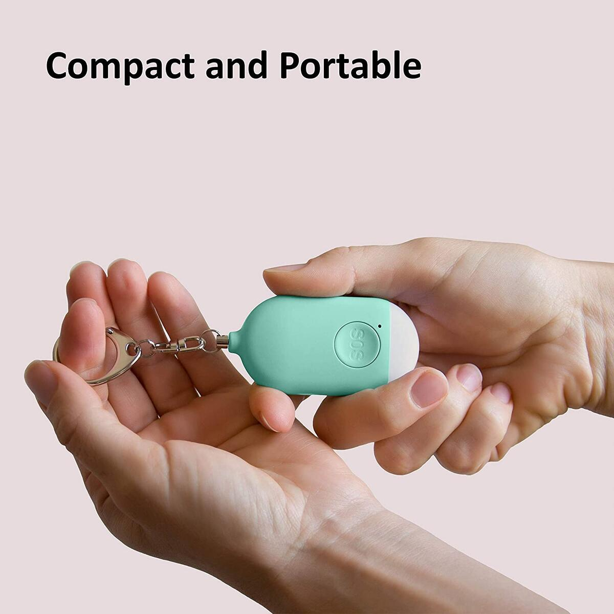 Rechargeable Personal Alarm Keychain with LED Light (Blue)