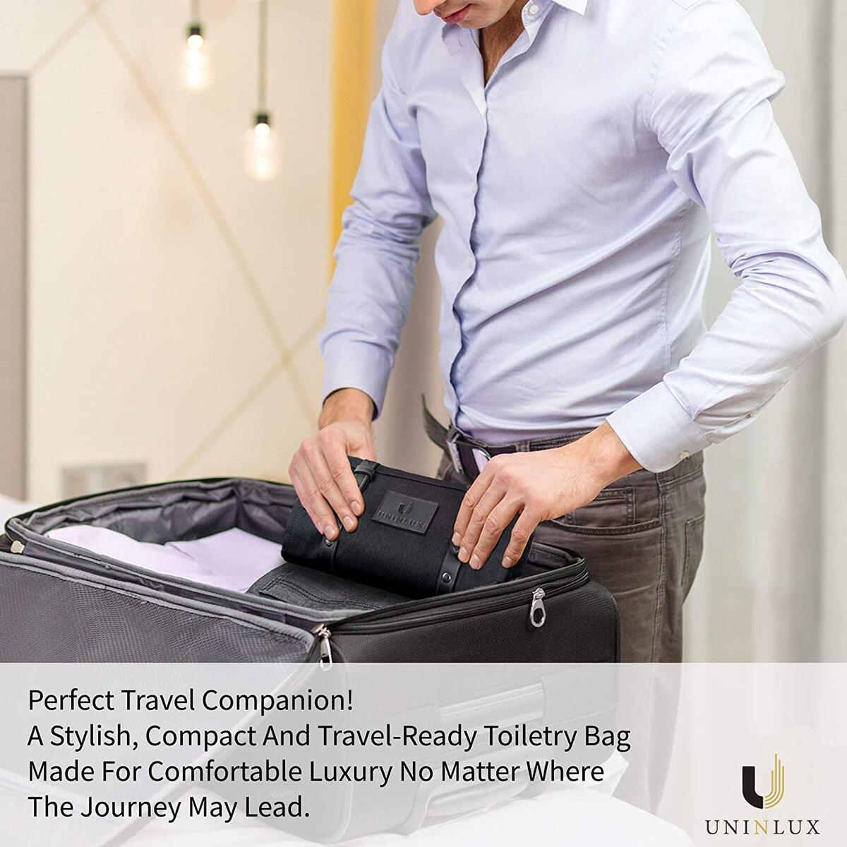 Leather Toiletry Bag for Men - Men's Hanging Toiletry Bag with Waterproof Lining | Sleek Mens Leather Travel Kit Bag | Black Leather Dopp Bag with Storage | Travel Gift for Men