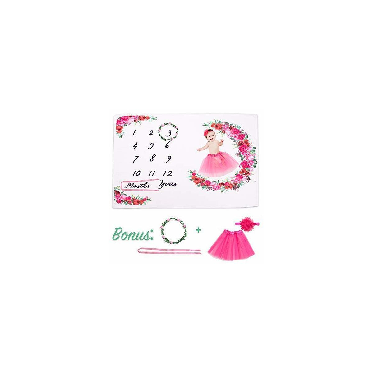 Baby Milestone Blanket - Girl with FREE Tutu Skirt