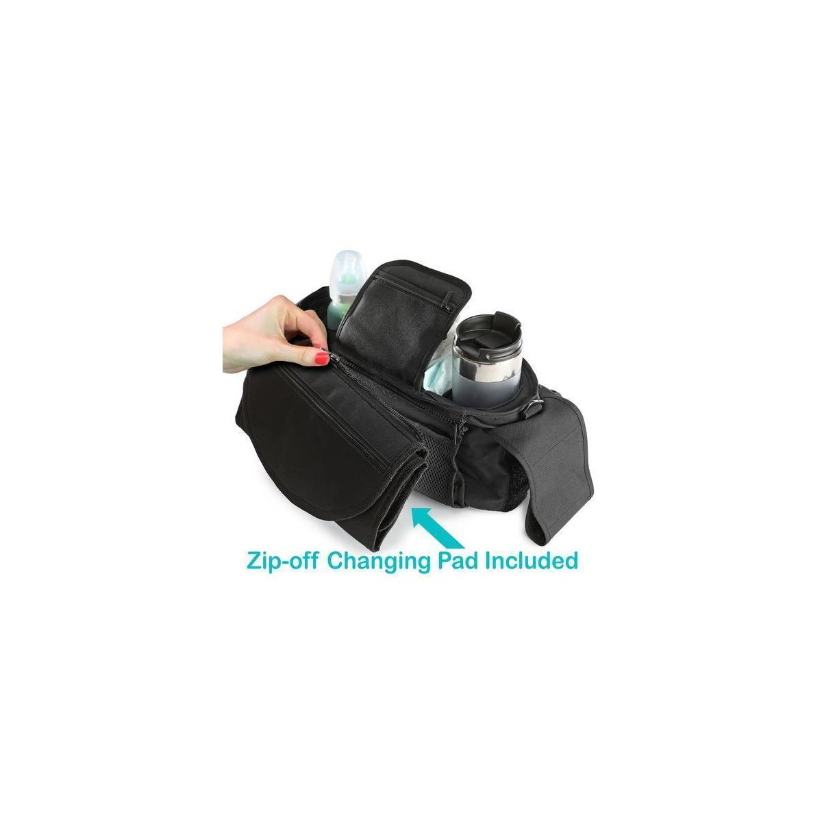 Baby Stroller Organizer with Insulated Cup Holders, Zip off Changing Pad, Shoulder Strap and Extra Large Storage Space