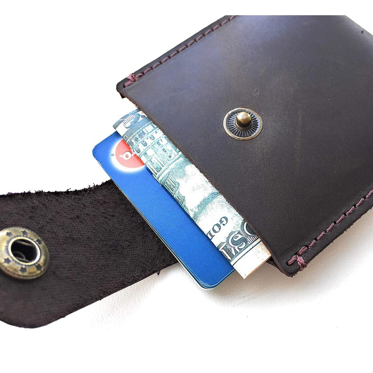 Mens Leather Wallet Unique Minimalist Style - Cowhide Genuine Leather Card Holder - Handmade Quality Gift