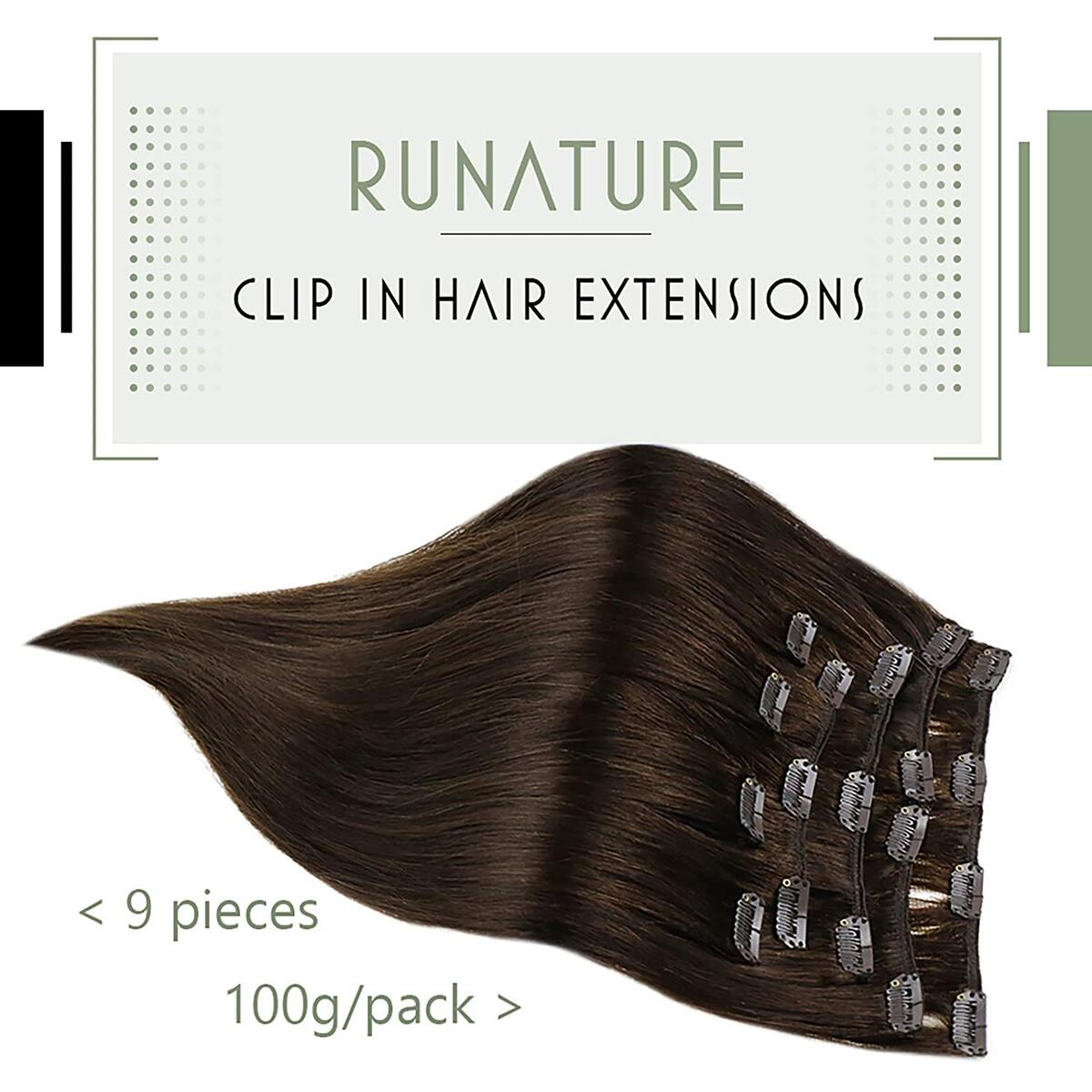 RUNATURE Clip in Human Hair Extensions 16 Inch Color 2 Darkest Brown 100g 9pcs Natural Hair Double Weft Clip in Extensions Real Hair Extension