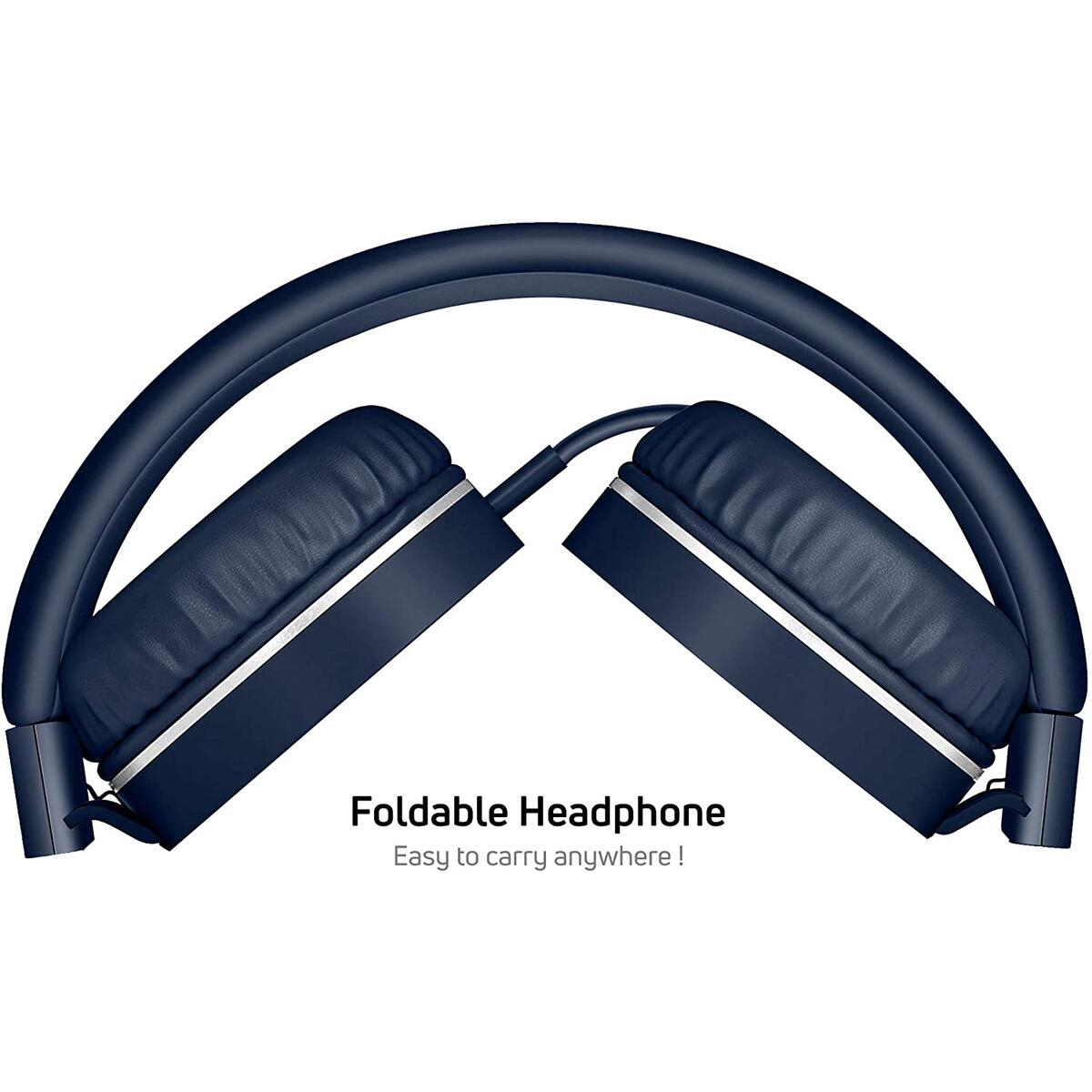 On-Ear Headphones with Built-in Mic, Adjustable Headband, Soft Ear Cushioned Pads, Foldable Design, for Phone or Computer Use (Matte Navy)