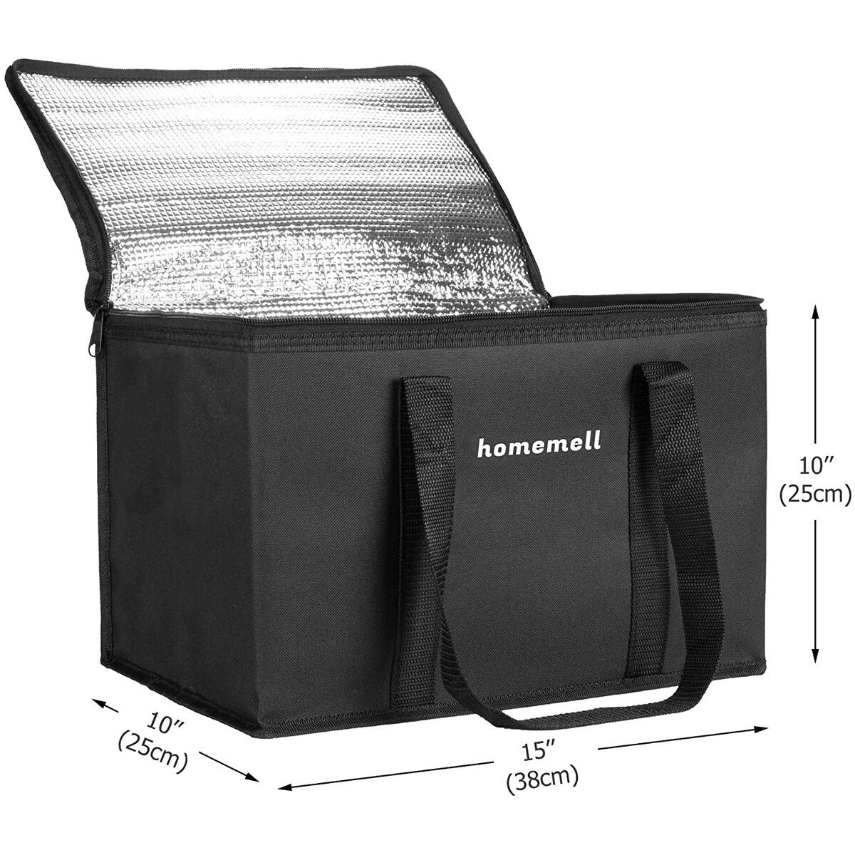 Homemell Cold bags for Groceries Frozen Food Soft Zippered Cooler Thermal Bags Upgraded Oxford Cloth Fabric Sturdy Zipper Stands Upright Collapsible Insulated Picnic Tote Transportation 2 Pack