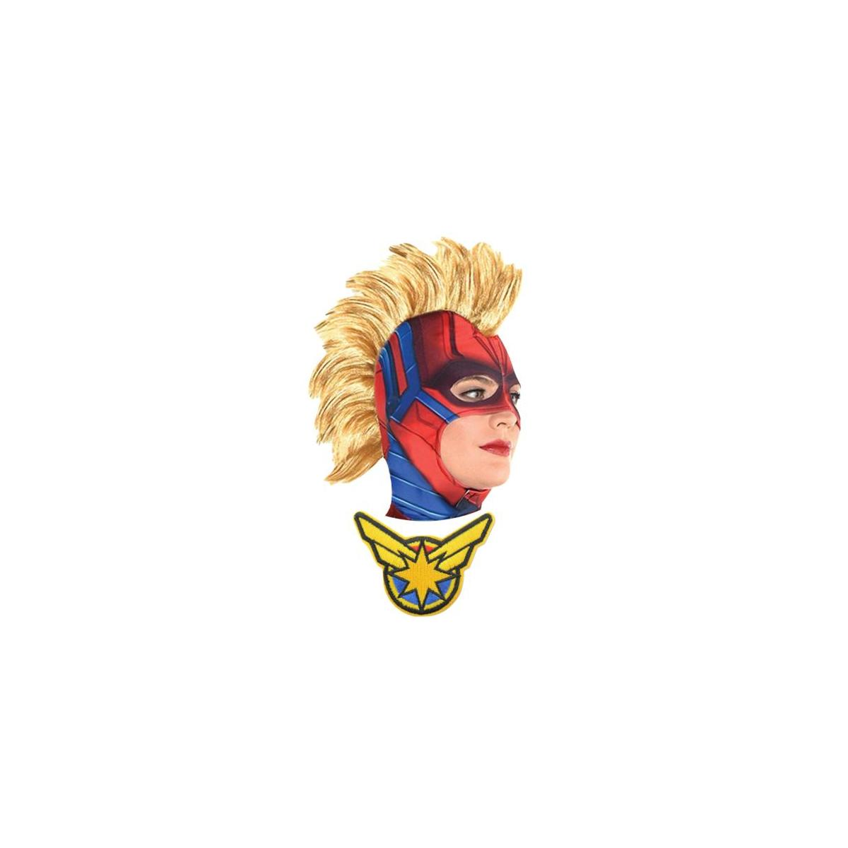 Captain Marvel Carol Danvers Endgame Movie Mask Brie Larson Mohawk Wig Cosplay Costume Adults Women's Girls Kids w/Patch