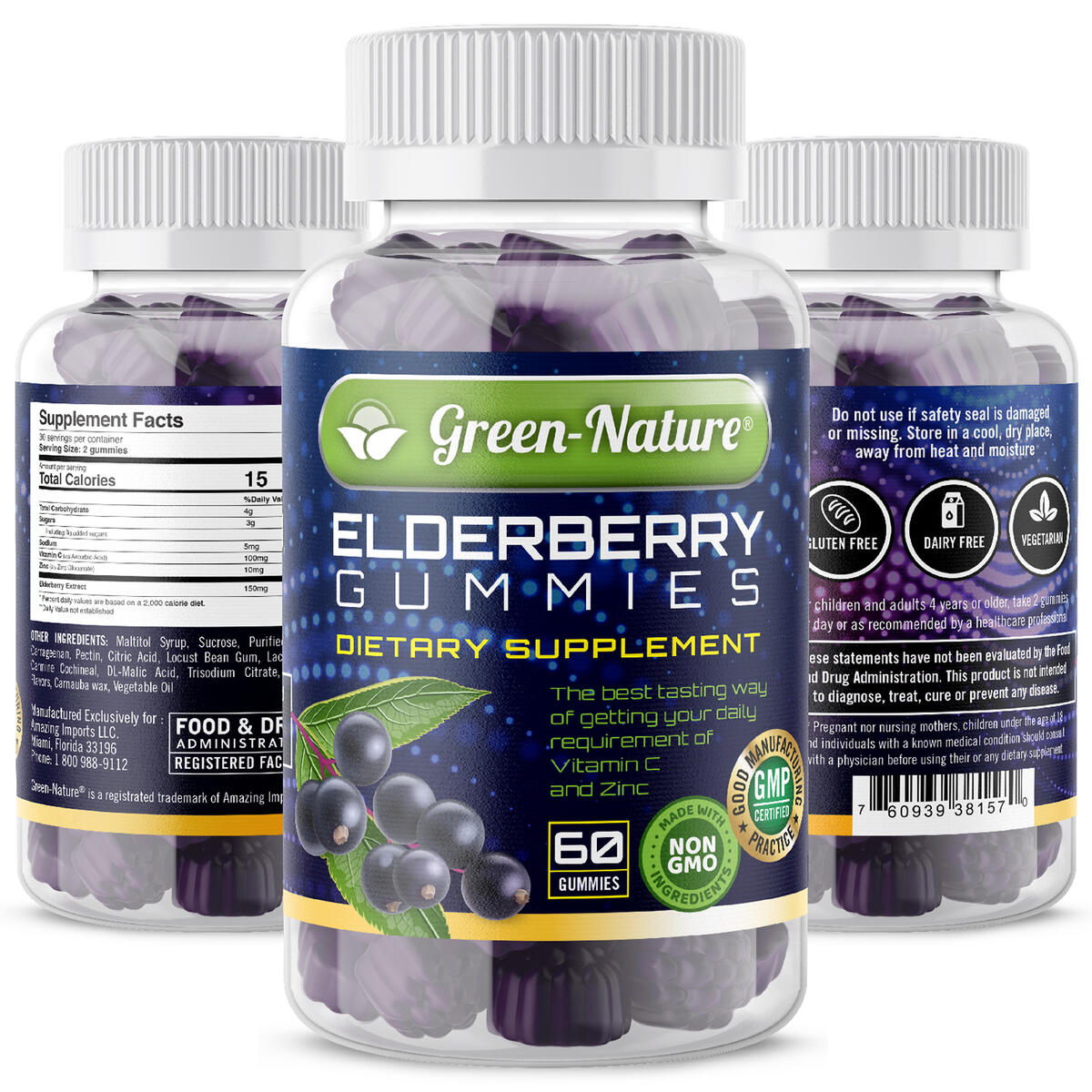 Green-Nature Elderberry Gummies for Adults and Kids Immune System Support & Metabolism Booster- 150 mg of Black Elderberry, Vitamin C, and Zinc with Gluten-Free and Non-GMO 60 Gummies.