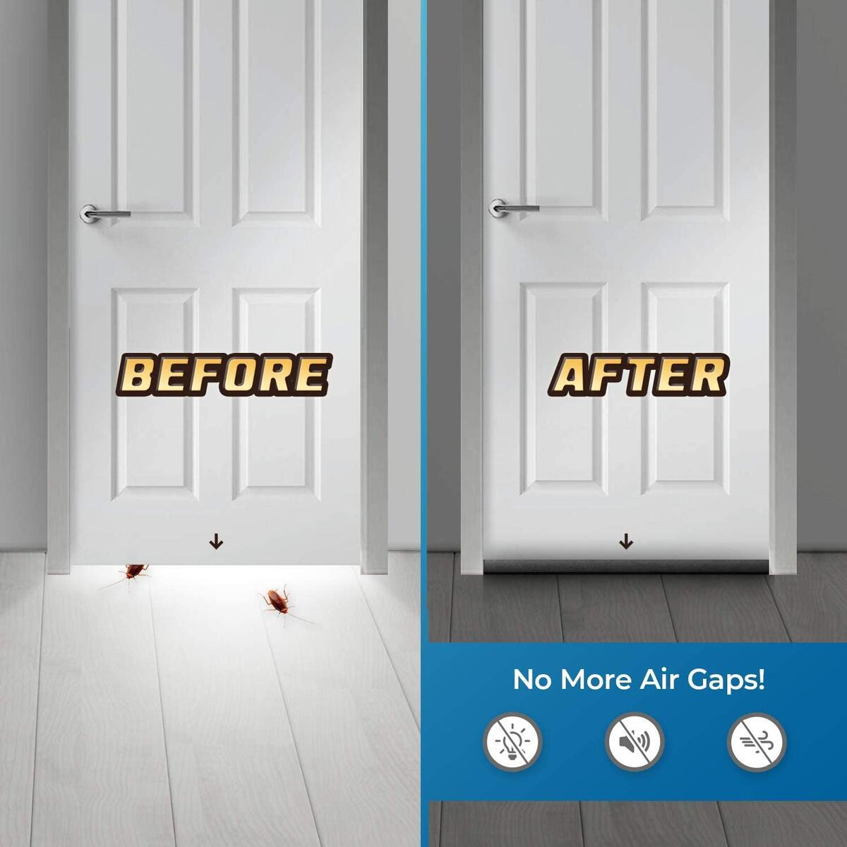 Door Draft Stopper, Heavy Duty Door Sweep, Sound Proof Reduce Noise Keeping Warm in and Cold Out,