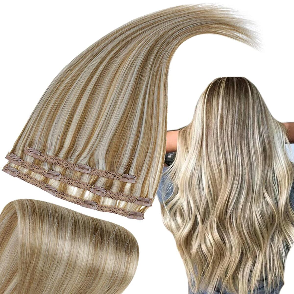 RUNATURE Clip in Hair Extensions 12 Inches Color 10P613 Golden Brown Highlighted Bleach Blonde 50g 3 Pieces 50g Real Human Hair Extensions for Woman