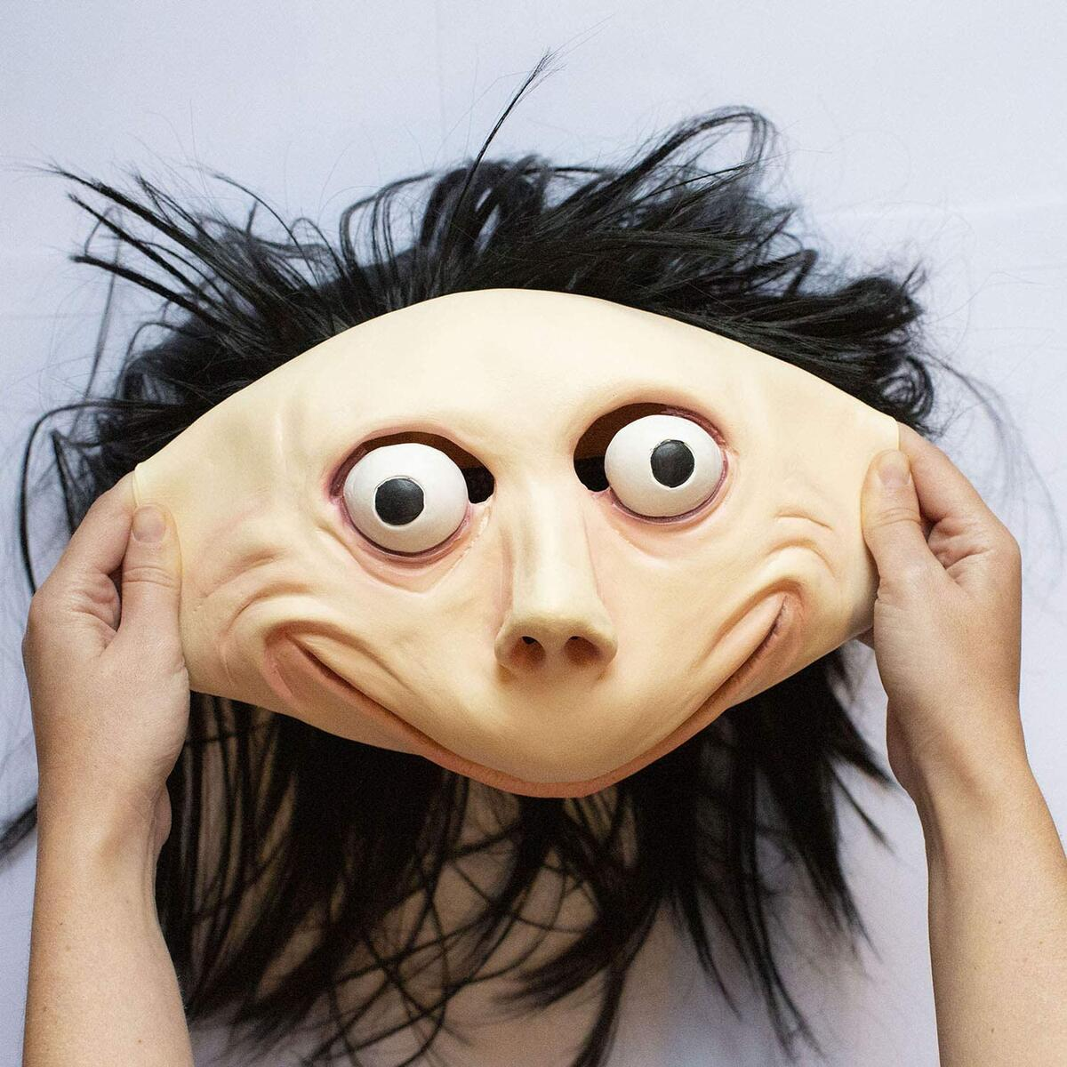 MOMO Halloween MASK Props - Creepy Horror Scary Latex Realistic Full Head with Wig Cosplay Costume Mask Decoration Party (Momo)