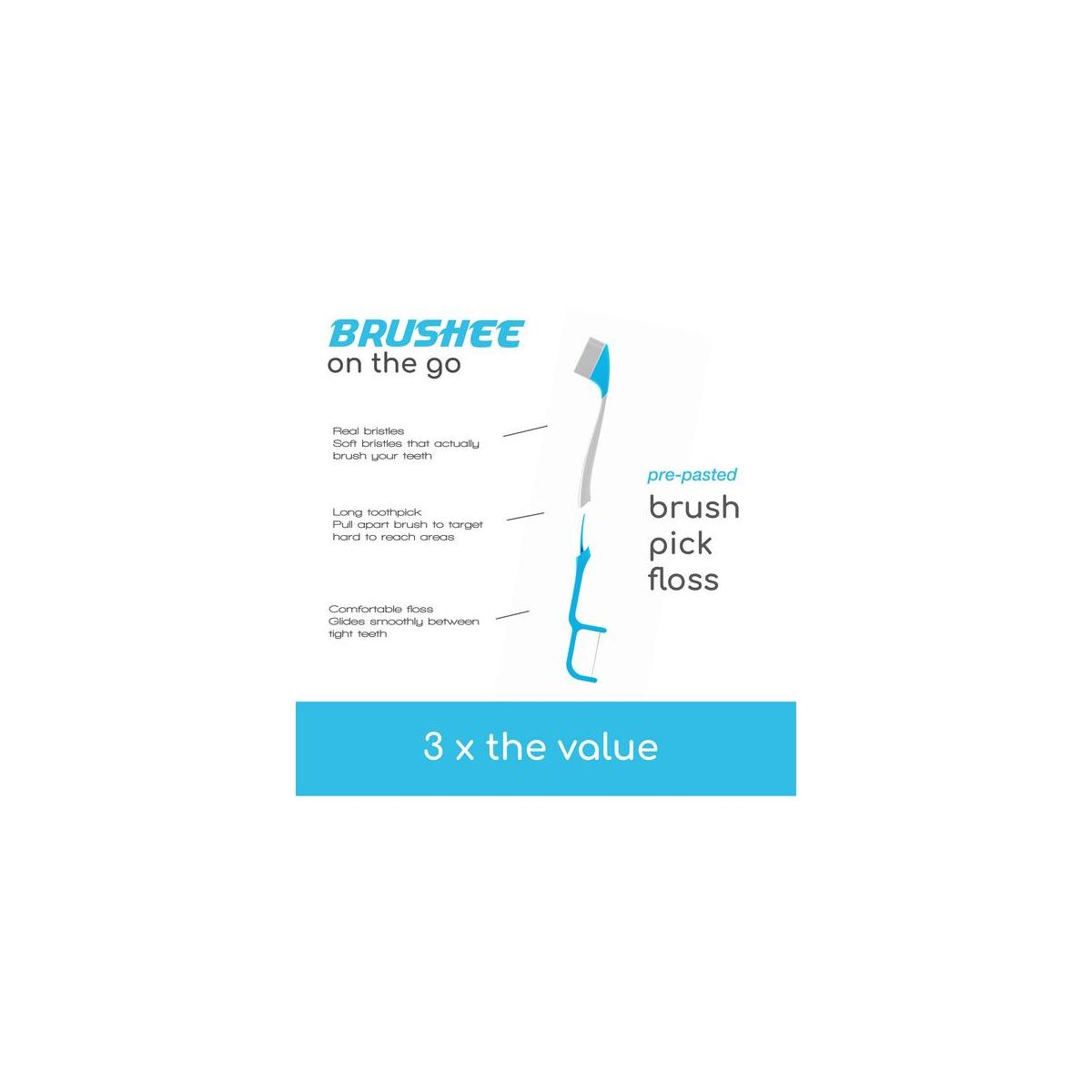Brushee - The Evolution Of Oral Care | 3-in-1 Tool (Pre-Pasted Mini-Brush + Floss + Pick) | Individually Wrapped | Disposable | Prepasted Travel Toothbrushes  - (24-Pack)