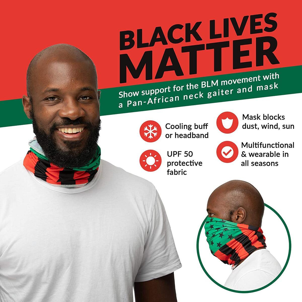Black Lives Matter Neck Gaiter Face Mask: Juneteenth BLM Bandana, Versatile Headband, Cooling Bandana, Scarf, Sweatband, Balaclava