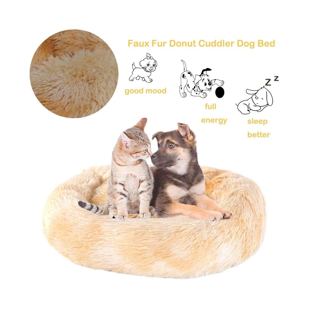 Calming Bed for Dogs Cats ( Yellow and Donut Medium 31.2