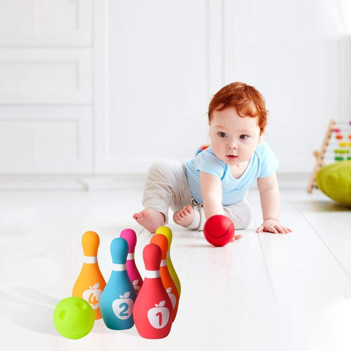 Soft Baby Bowling Set 7-Piece Soft Bowling Game for Boys & Girls w/ Colorful Numbered Pins & Ball Safe, Great Toy for Indoor or Outdoor Birthday, Toddler & More Ages 18M+