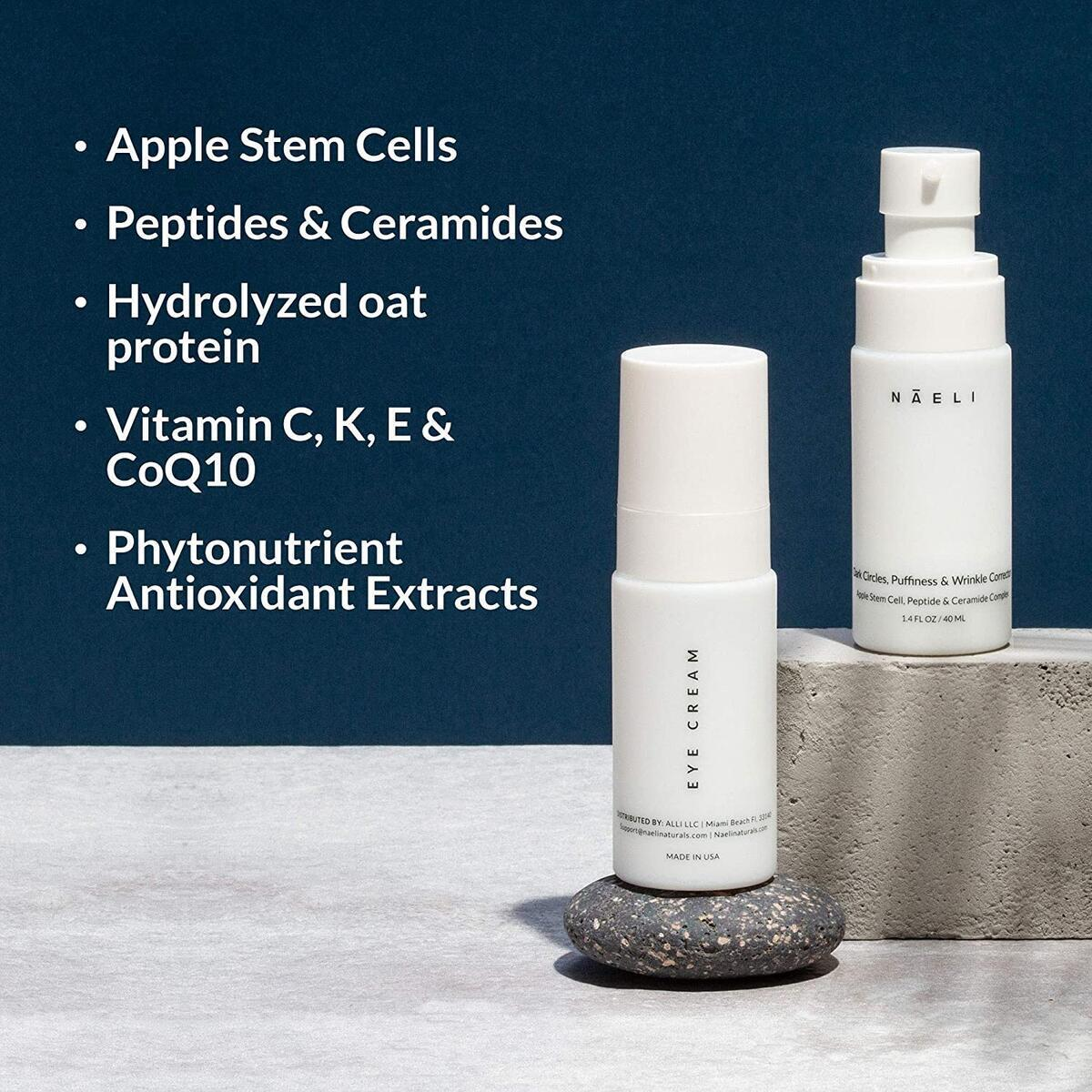 Eye Cream for Dark Circles, Puffiness & Wrinkles - Anti Aging Bags Treatment - Apple Stem Cell, Peptide & Ceramide Complex - Hydrates, Brightens & Restores Under Eye, 1.4 oz.