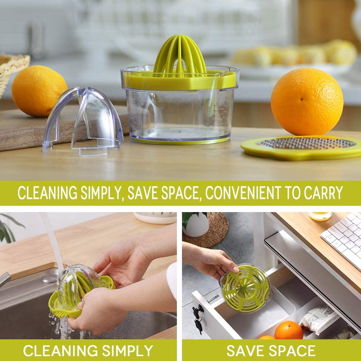 Lemon Orange Juicer Manual Hand Squeezer- Easy To Use Multi-Function Manual Citrus Juicer cum Grater with built-in 12 Ounces Measuring Cup