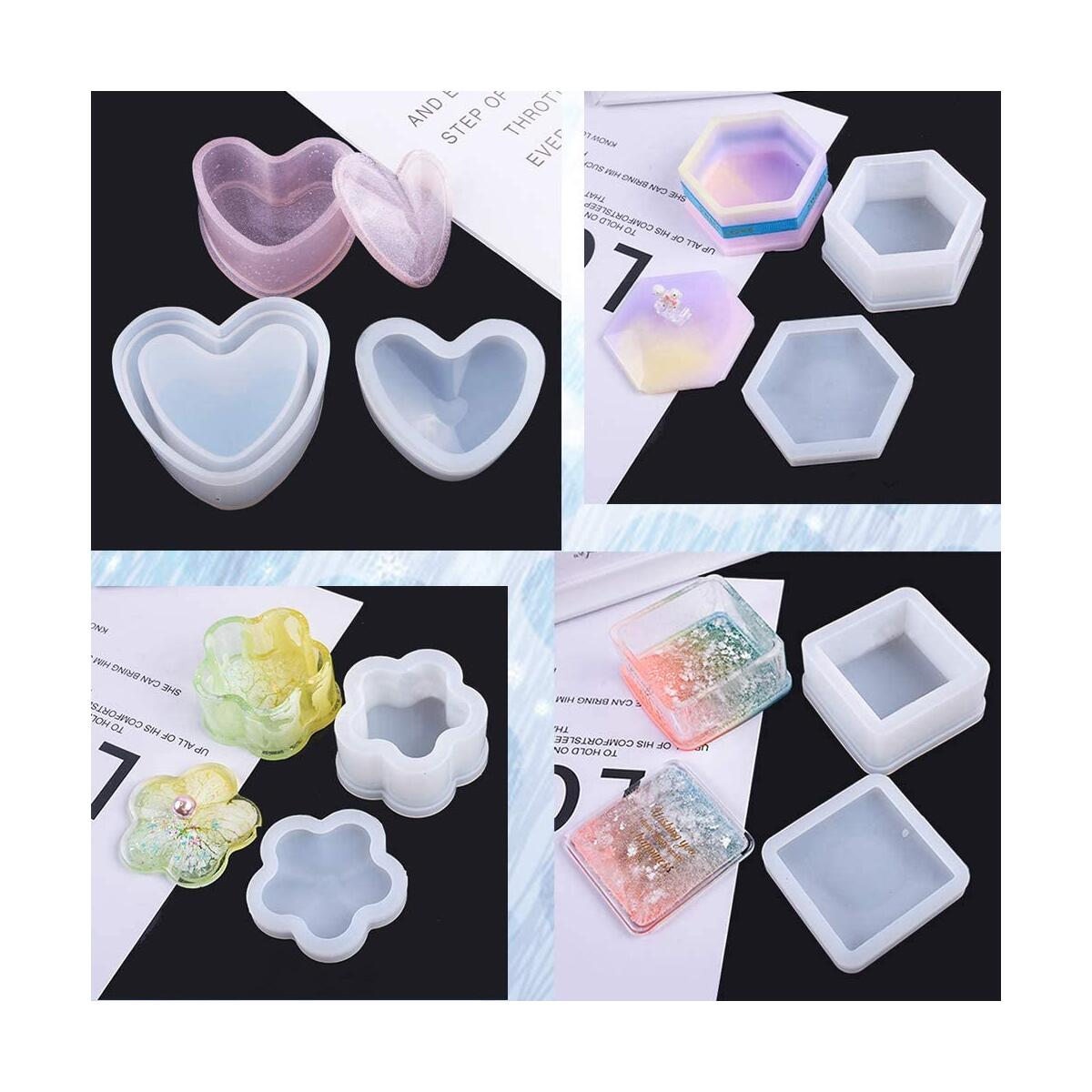 Box Resin Molds,4 Pcs Jewelry Box Molds with Heart Shape Silicone Resin Mold,Flower Resin Molds, Hexagon Storage Box Mold and Square Epoxy Molds for Resin Crafts DIY